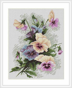 Pansies Cross Stitch Kit by Luca S