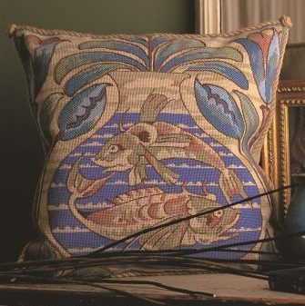 William De Morgan Fish Needlepoint Cushion Kit by Glorafilia