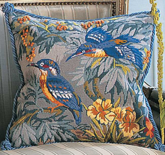 Kingfishers Needlepoint Cushion Kit by Glorafilia