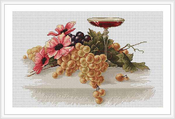 Flowers and Grapes Cross Stitch Kit by Luca S