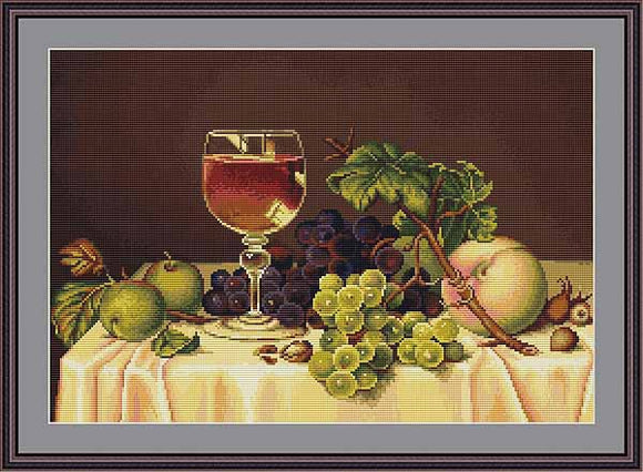Still Life with Wine Glass Cross Stitch Kit by Luca S
