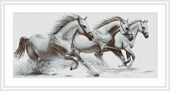 White Horses Cross Stitch Kit by Luca S