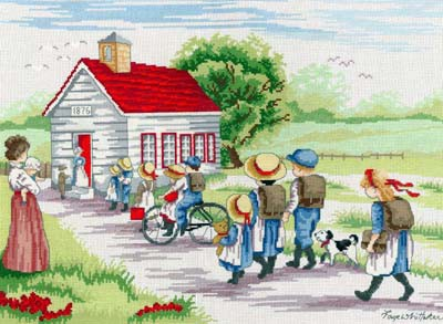 Little Red School House All Our Yesterdays Cross Stitch Kit by Faye Whittaker