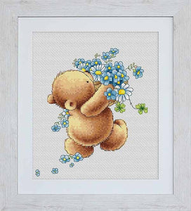 Bear with Forget Me Nots Cross Stitch Kit By Luca S