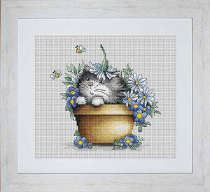 Kitten with Flowers Cross Stitch Kit By Luca S