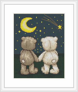 Bruno and Bianca Night Time Walk Cross Stitch Kit By Luca S
