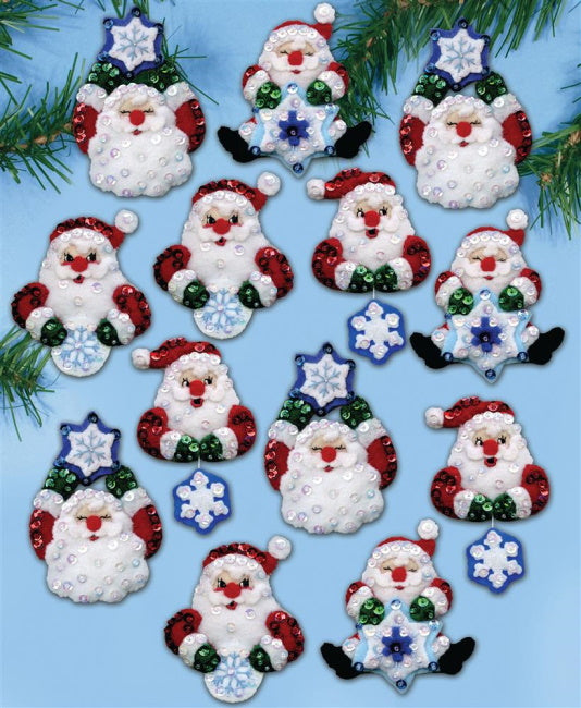 Snowflake Santa Christmas Decorations Felt Applique Kit by Design Works