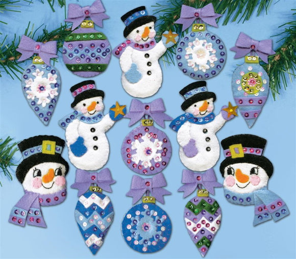 Frosty Fun Christmas Decorations Felt Applique Kit by Design Works