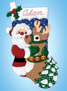 Santa and Deer Christmas Stocking Felt Applique Kit by Design Works