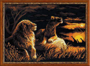Lions in the Savannah Cross Stitch Kit By RIOLIS