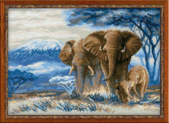 Elephants in the Savannah Cross Stitch Kit By RIOLIS