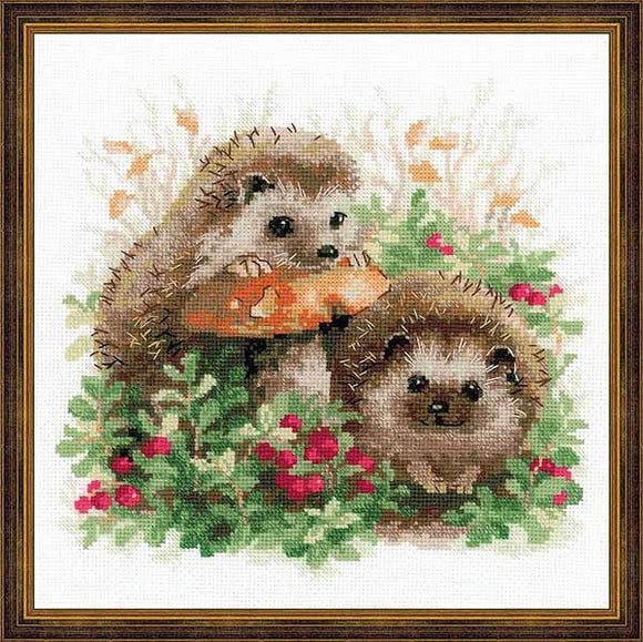 Hedgehogs in Lingonberries Cross Stitch Kit By RIOLIS