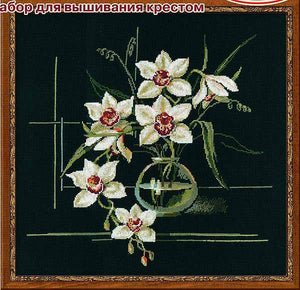 White Orchid Cross Stitch Kit By RIOLIS