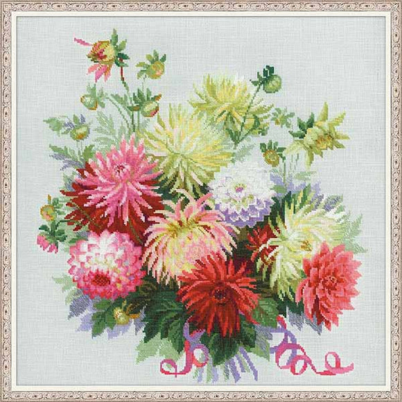 Dahlias Cross Stitch Kit By RIOLIS