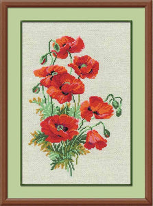 Wild Poppies Cross Stitch Kit By RIOLIS