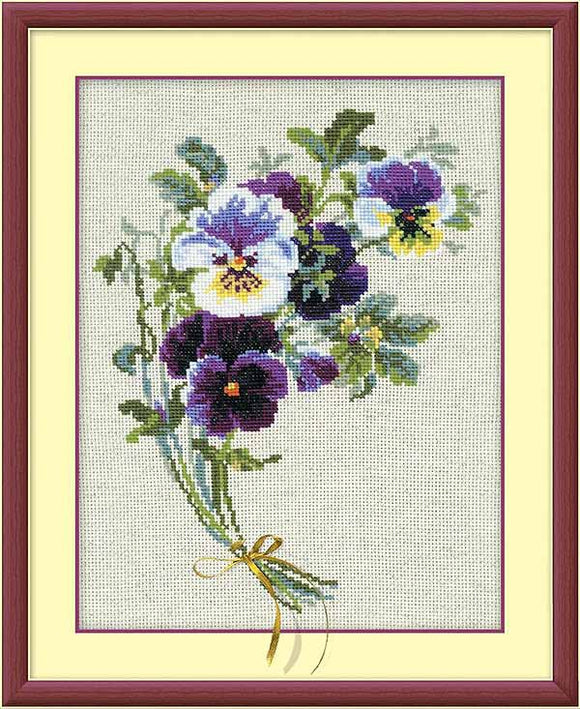 Bunch of Pansies Cross Stitch Kit By RIOLIS