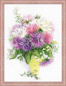 Asters Cross Stitch Kit By RIOLIS