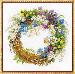 Wreath with Bird Cherry Cross Stitch Kit By RIOLIS
