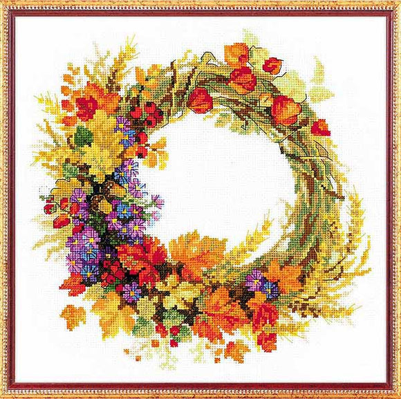 Wreath with Wheat Cross Stitch Kit By RIOLIS