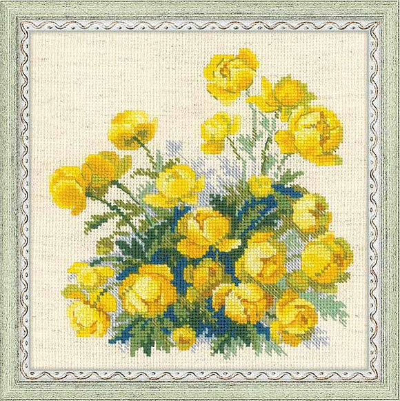Globe Flower Cross Stitch Kit By RIOLIS