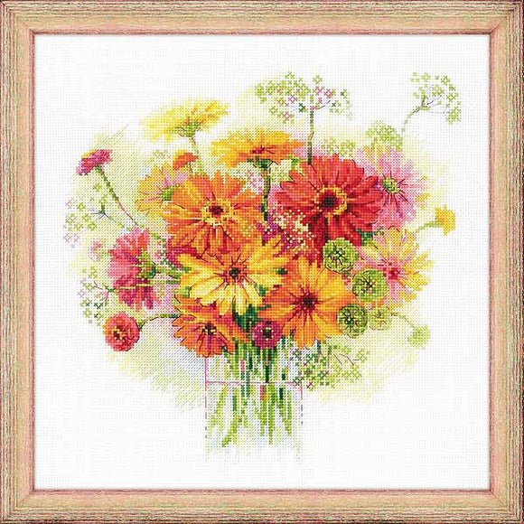Watercolour Gerberas Cross Stitch Kit By RIOLIS