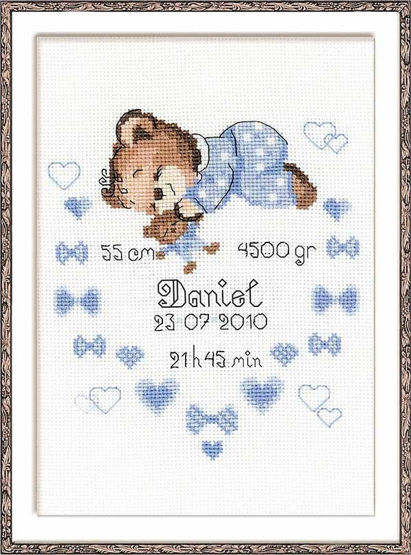 Boy Birth Sampler Cross Stitch Kit By RIOLIS