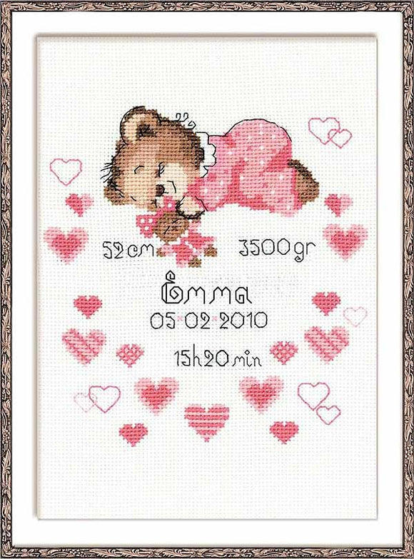 Girl Birth Sampler Cross Stitch Kit By RIOLIS