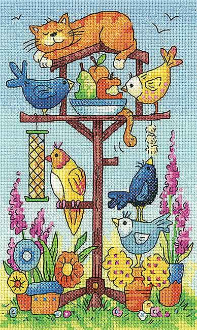 Bird Table Cross Stitch Kit by Heritage Crafts