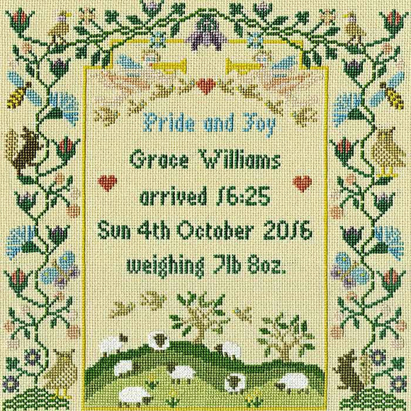 Pride and Joy Birth Sampler Cross Stitch Kit By Bothy Threads