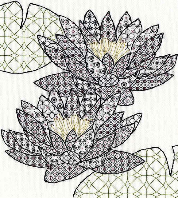 Water Lily Blackwork Kit By Bothy Threads