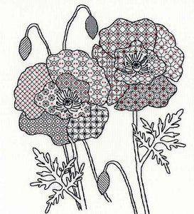Poppy Blackwork Kit By Bothy Threads