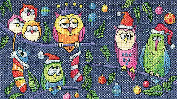 Christmas Owls Cross Stitch Kit by Heritage Crafts