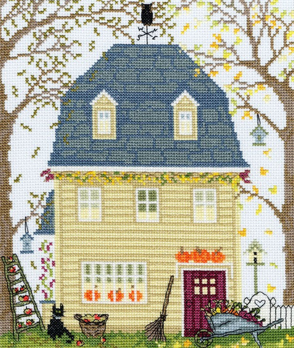 New England Homes Fall Cross Stitch Kit By Bothy Threads