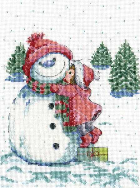 Snowman with Red Scarf Cross Stitch Kit by Design Works
