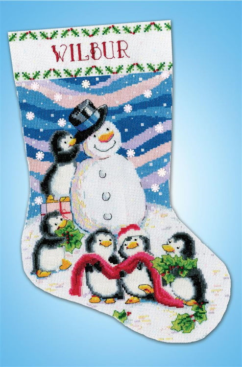 Dressing Frosty Christmas Stocking Cross Stitch Kit by Design Works