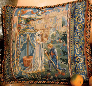 Lancelot and Guinivere Needlepoint Cushion Kit by Glorafilia