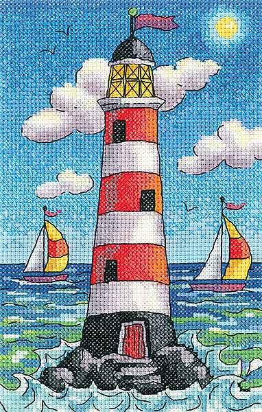 Lighthouse by Day Cross Stitch Kit by Heritage Crafts