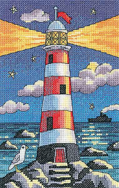 Lighthouse by Night Cross Stitch Kit by Heritage Crafts