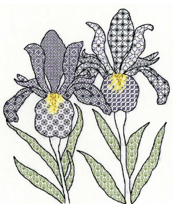 Irises Blackwork Kit By Bothy Threads