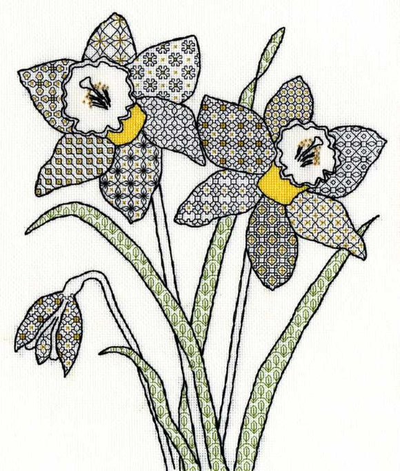 Daffodils Blackwork Kit By Bothy Threads