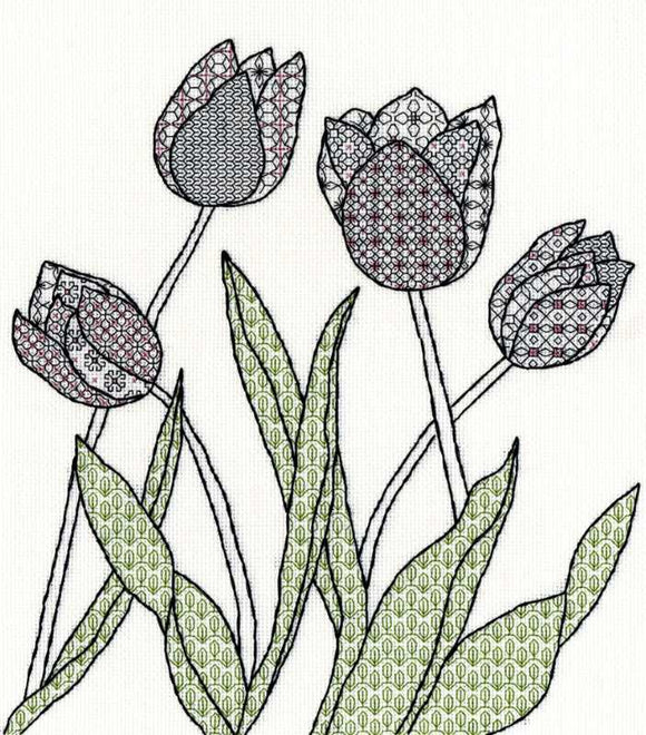 Tulips Blackwork Kit By Bothy Threads