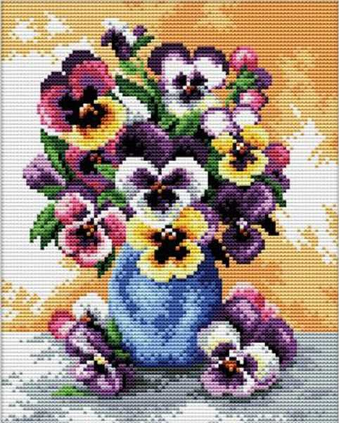 Vase of Pansies Printed Cross Stitch Kit by Needleart World