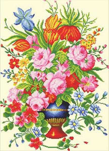 Elegant Floral Arrangement Printed Cross Stitch Kit by Needleart World