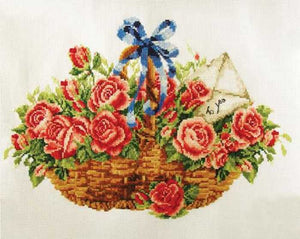 Basket of Roses Printed Cross Stitch Kit by Needleart World