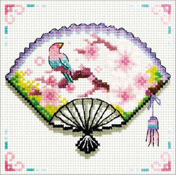 Cherry Blossom Fan Printed Cross Stitch Kit by Needleart World
