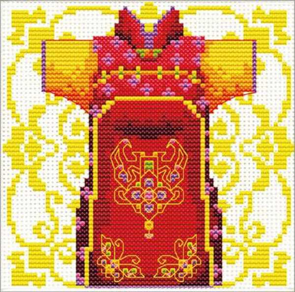 Red Samurai Printed Cross Stitch Kit by Needleart World