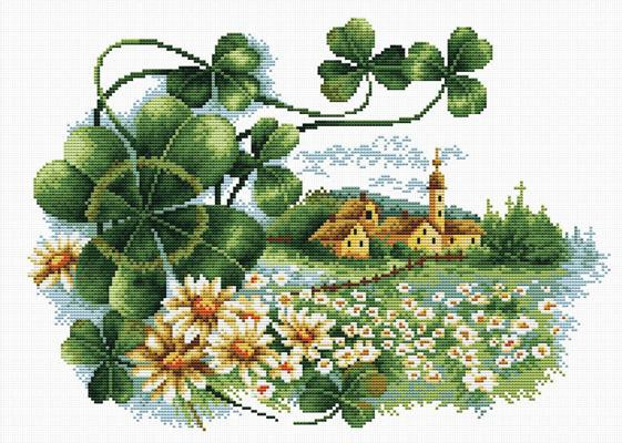 Scenery Clover Printed Cross Stitch Kit by Needleart World
