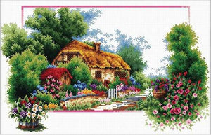 English Cottage Lane Printed Cross Stitch Kit by Needleart World