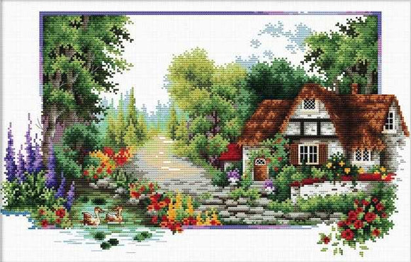 English Cottage Stream Printed Cross Stitch Kit by Needleart World