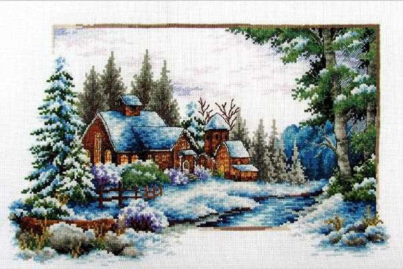 Winter Snow Printed Cross Stitch Kit by Needleart World